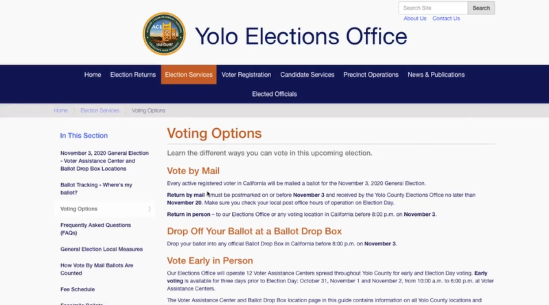 Yolo Elections Office voting options page