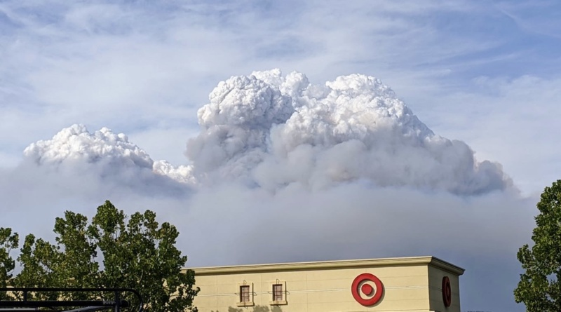 A plume of smoke over the North Napa Target from the LNU Complex Fire