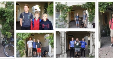 Collage of six photos of Ryan Layman and Sean Layman's first days of school