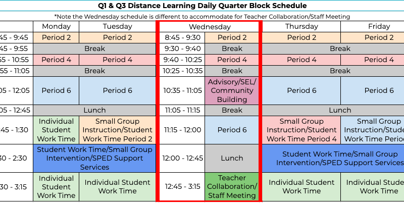 Q1 & Q3 distance learning daily quarter block schedule