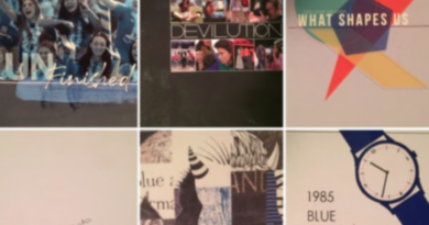 A collage of six previous Davis High yearbook covers