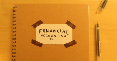A spiraled notebook titled Financial Accounting 301 and an uncapped gel pen splayed out on a desk