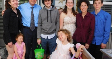 Natalie Ries with her foster family