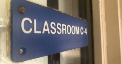 Sign for classroom C-4 which is a special education classroom at Davis High
