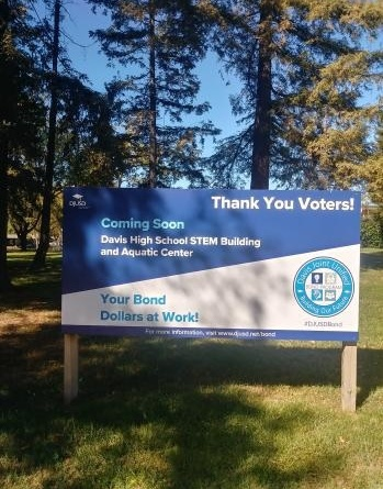 A sign on the Davis High campus thanking voters